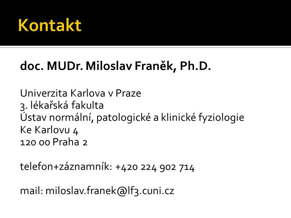 Kontakt doc. MUDr. Miloslav Franěk, Ph.D. Univerzita Karlova v Praze