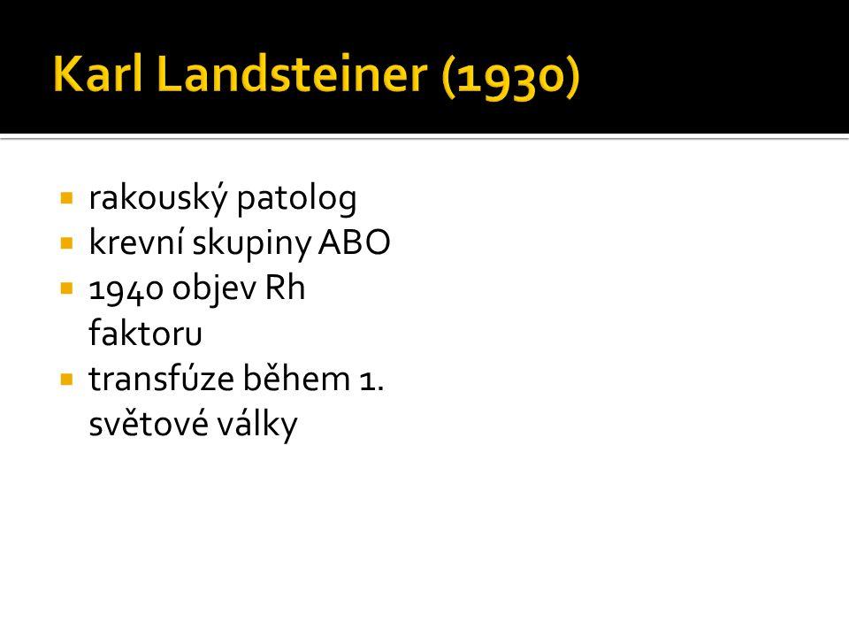 Karl Landsteiner (1930) rakouský patolog krevní skupiny ABO