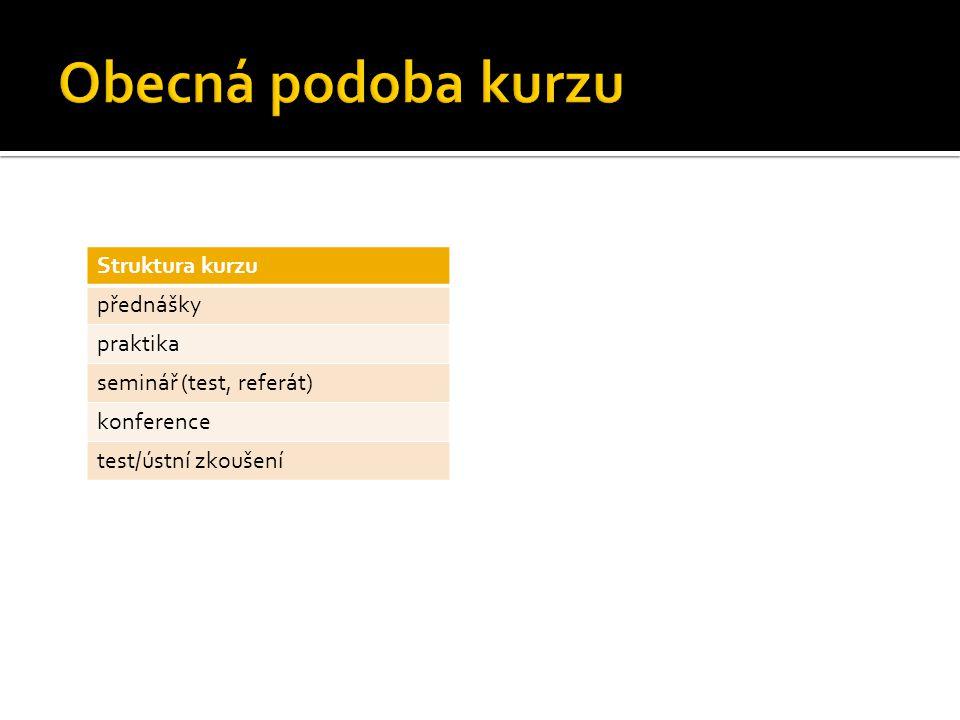 Obecná podoba kurzu Struktura kurzu přednášky praktika