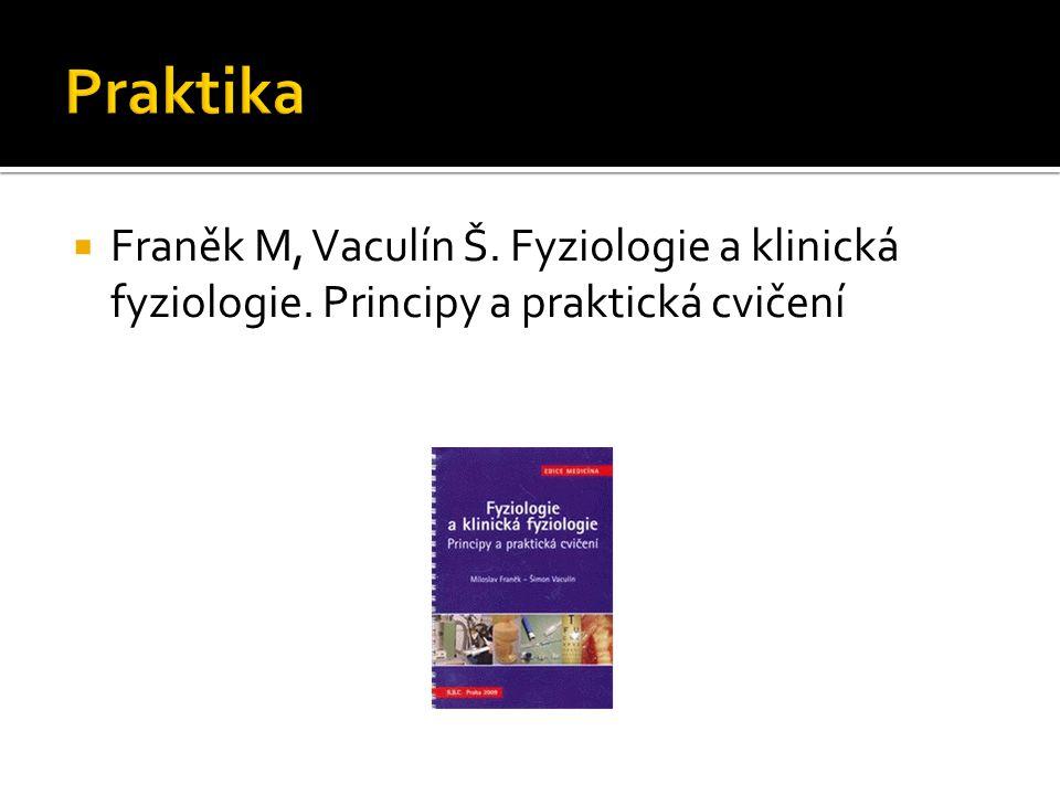 Praktika Franěk M, Vaculín Š. Fyziologie a klinická fyziologie. Principy a praktická cvičení