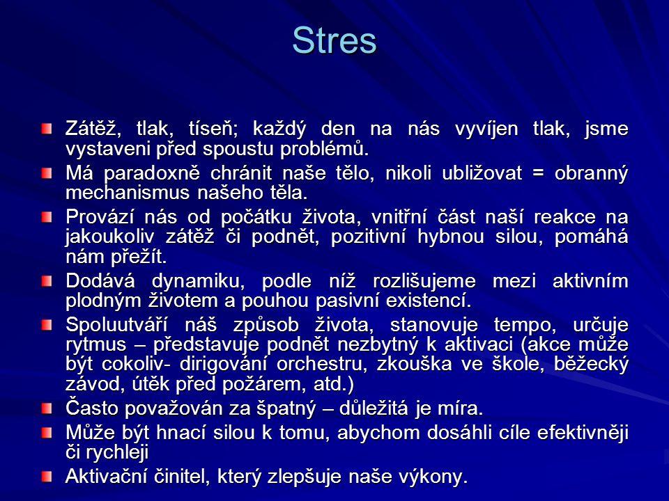 Stres Zátěž, tlak, tíseň; každý den na nás vyvíjen tlak, jsme vystaveni před spoustu problémů.