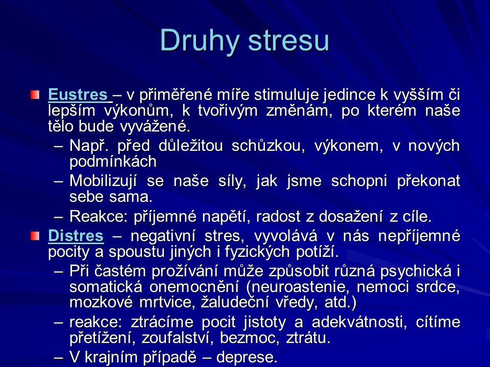 Druhy stresu Eustres – v přiměřené míře stimuluje jedince k vyšším či lepším výkonům, k tvořivým změnám, po kterém naše tělo bude vyvážené.