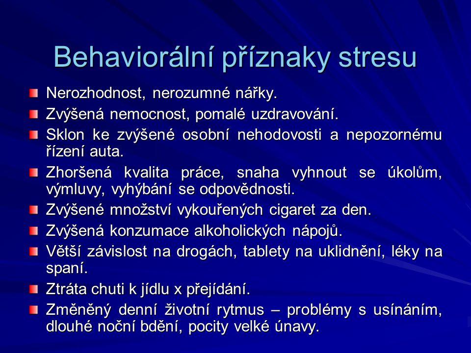 Behaviorální příznaky stresu