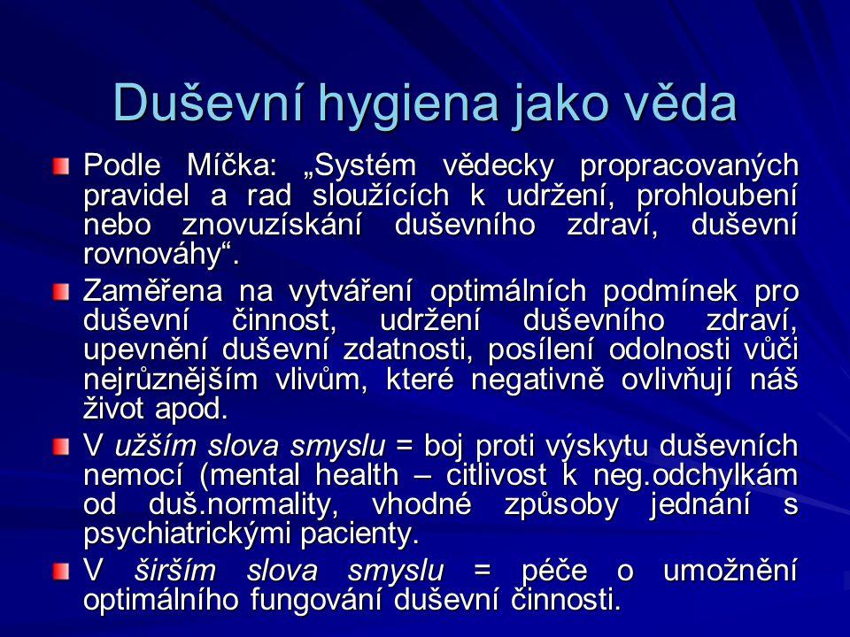 Duševní hygiena jako věda