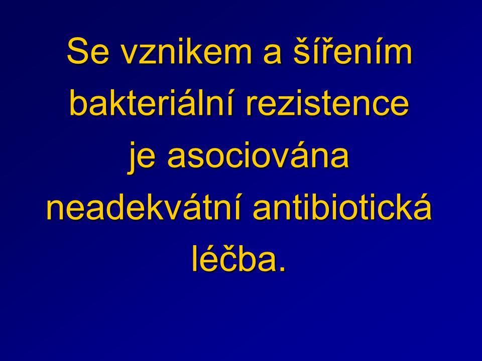 Se vznikem a šířením bakteriální rezistence je asociována neadekvátní antibiotická léčba.