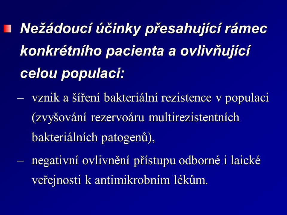 Nežádoucí účinky přesahující rámec konkrétního pacienta a ovlivňující celou populaci: