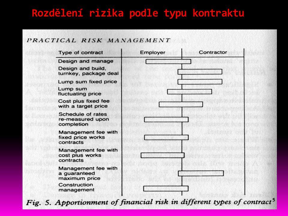 Rozdělení rizika podle typu kontraktu