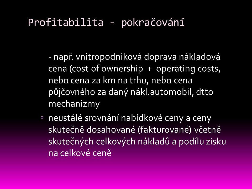 Profitabilita - pokračování
