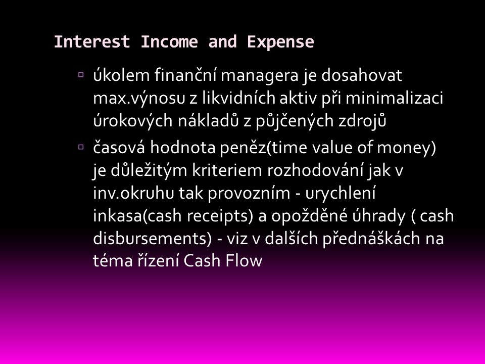 Interest Income and Expense