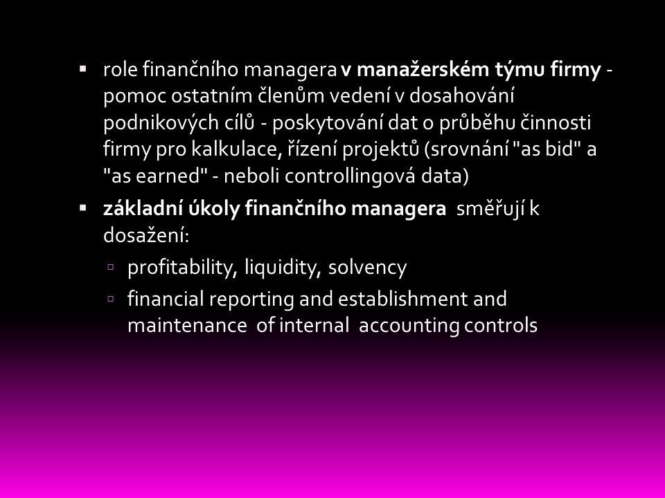 role finančního managera v manažerském týmu firmy - pomoc ostatním členům vedení v dosahování podnikových cílů - poskytování dat o průběhu činnosti firmy pro kalkulace, řízení projektů (srovnání as bid a as earned - neboli controllingová data)