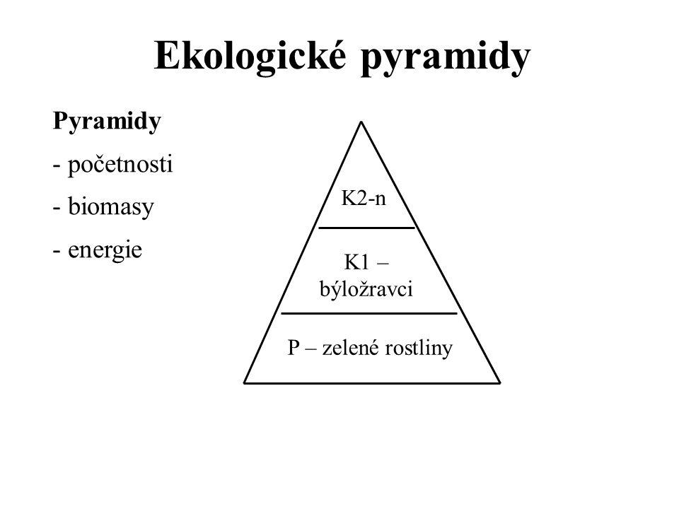 Ekologické pyramidy Pyramidy - početnosti - biomasy - energie K2-n