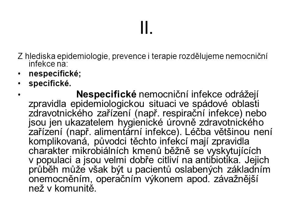 II. Z hlediska epidemiologie, prevence i terapie rozdělujeme nemocniční infekce na: nespecifické; specifické.