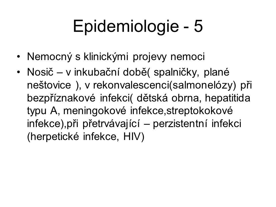 Epidemiologie - 5 Nemocný s klinickými projevy nemoci