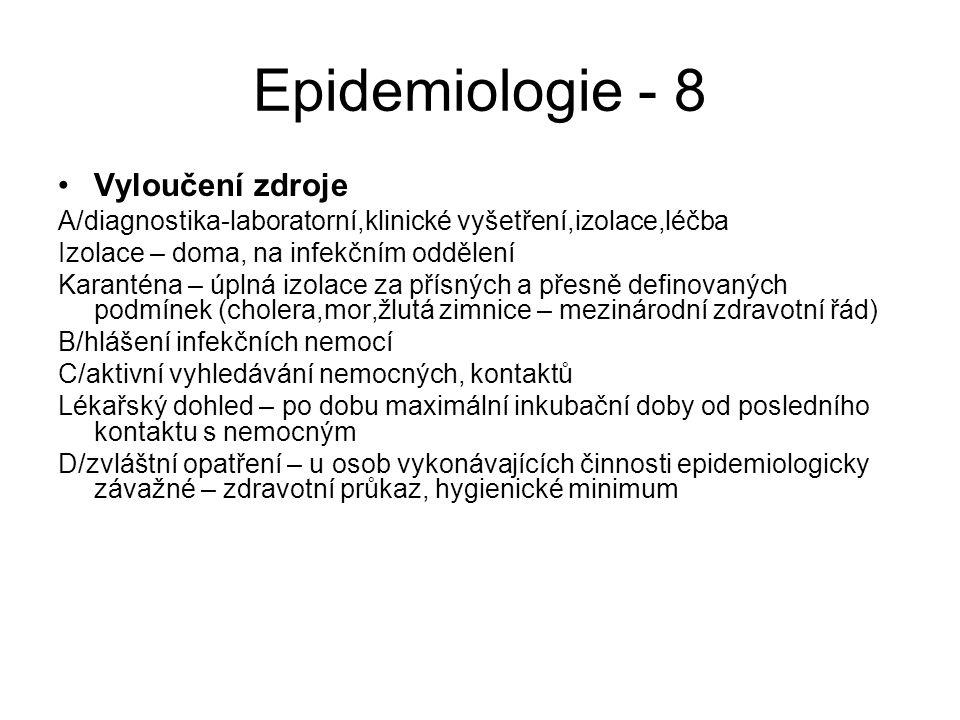 Epidemiologie - 8 Vyloučení zdroje