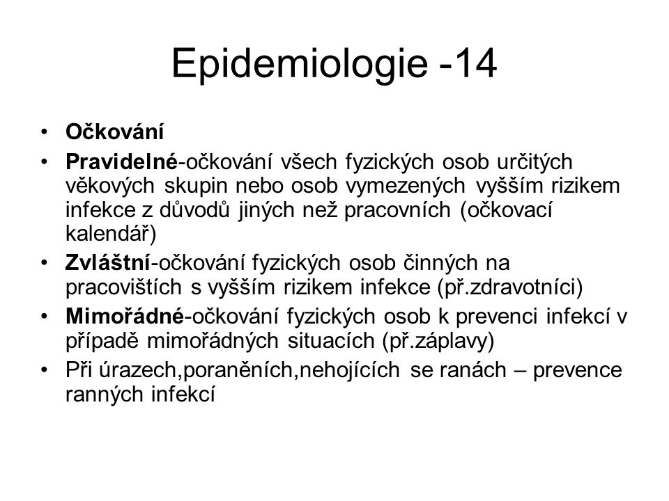 Epidemiologie -14 Očkování