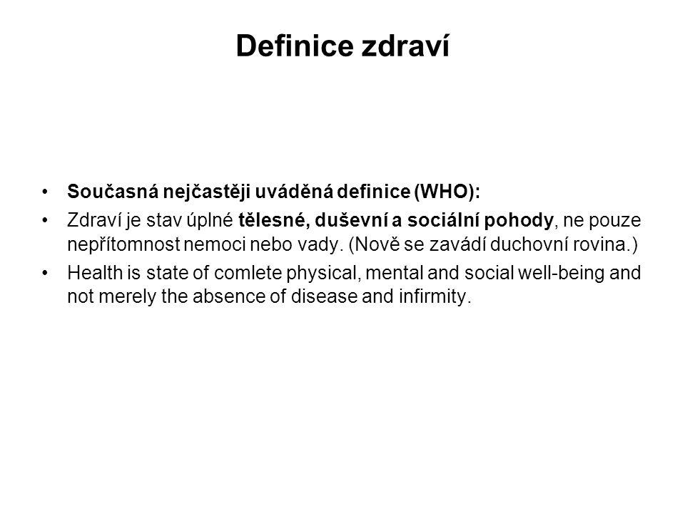 Definice zdraví Současná nejčastěji uváděná definice (WHO):