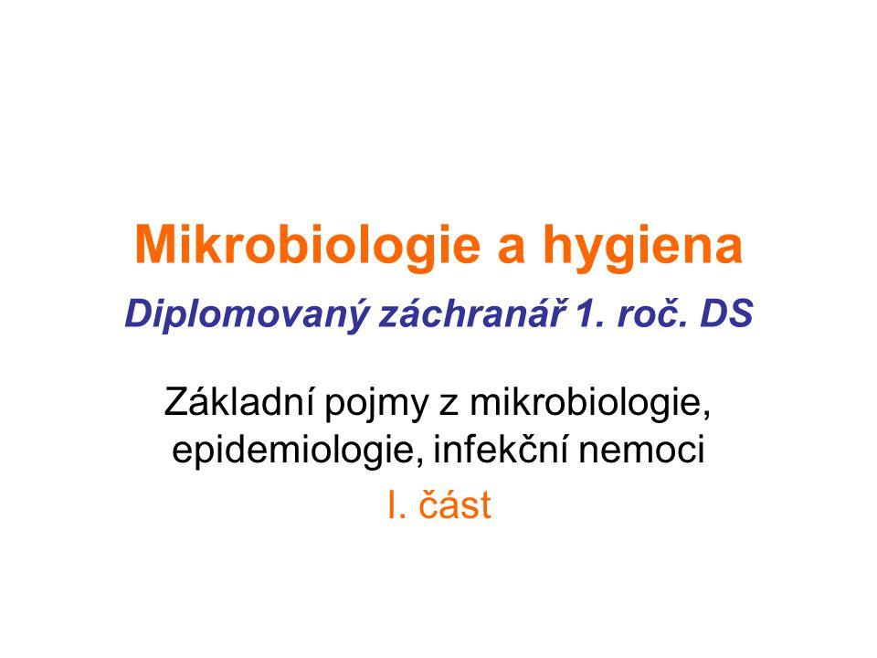 Mikrobiologie a hygiena Diplomovaný záchranář 1. roč. DS
