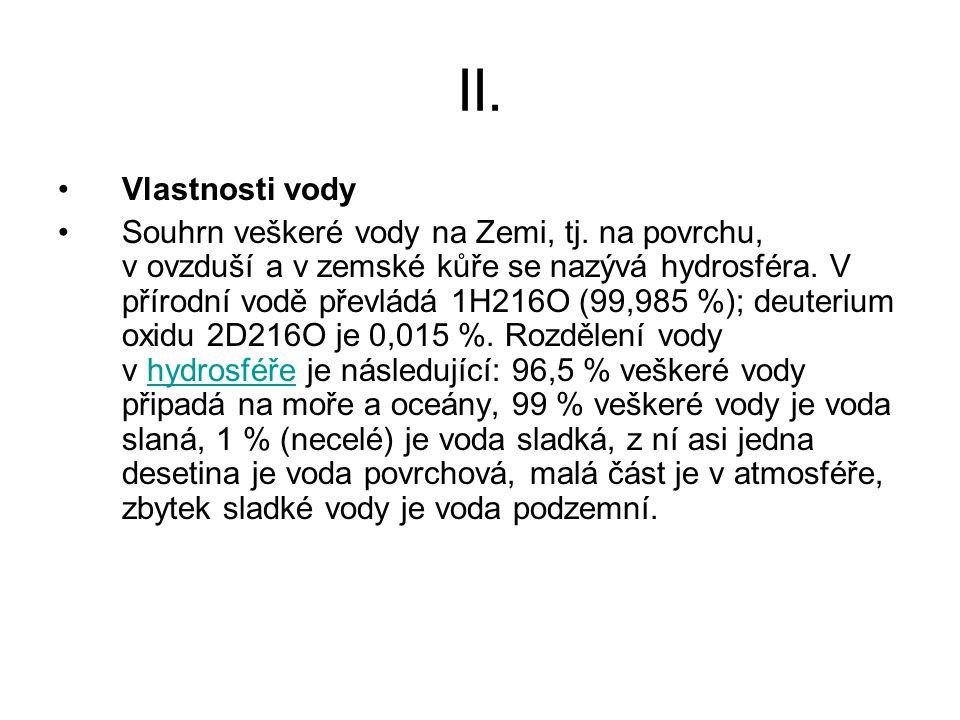 II. Vlastnosti vody.