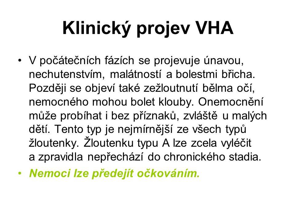 Klinický projev VHA