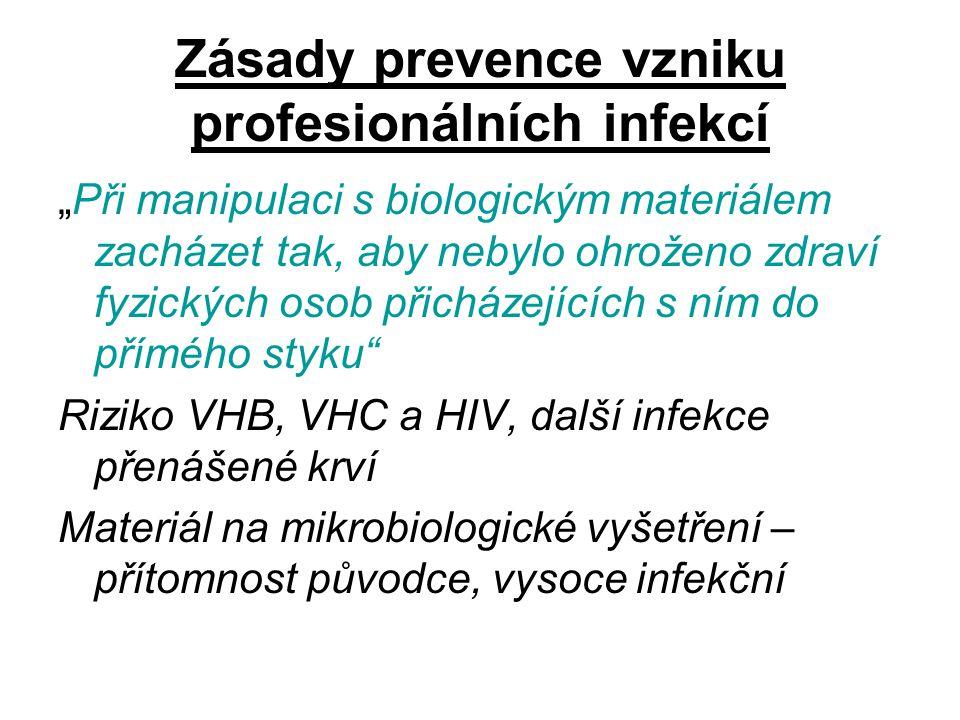 Zásady prevence vzniku profesionálních infekcí