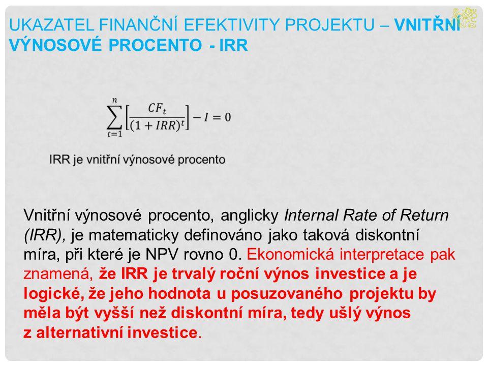 UKAZATEL FINANČNÍ EFEKTIVITY PROJEKTU – VNITŘNÍ VÝNOSOVÉ PROCENTO - IRR
