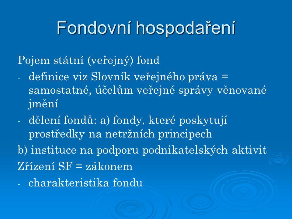 Fondovní hospodaření Pojem státní (veřejný) fond
