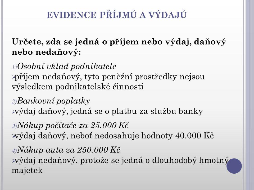 EVIDENCE PŘÍJMŮ A VÝDAJŮ