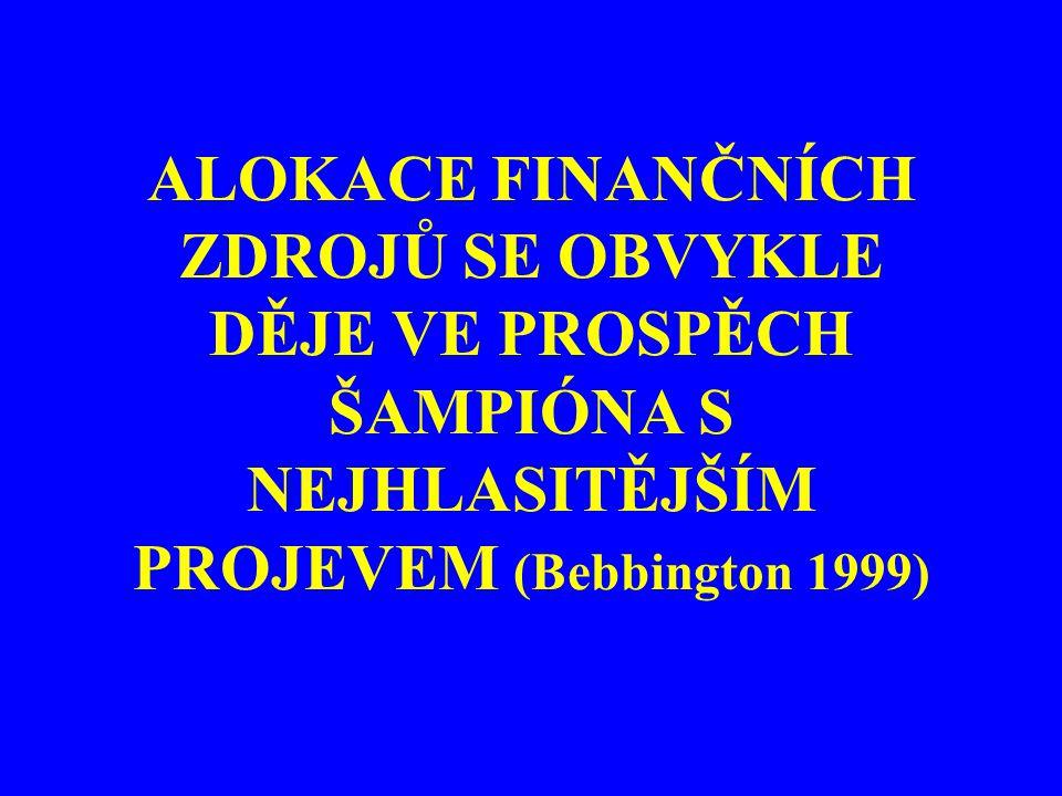 ALOKACE FINANČNÍCH ZDROJŮ SE OBVYKLE DĚJE VE PROSPĚCH ŠAMPIÓNA S NEJHLASITĚJŠÍM PROJEVEM (Bebbington 1999)