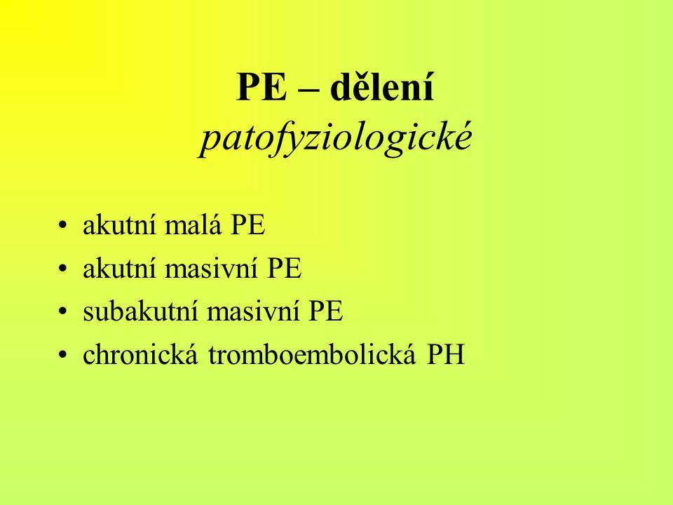 PE – dělení patofyziologické
