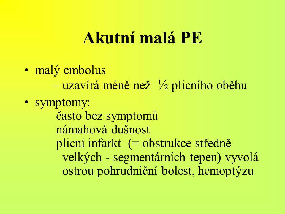 Akutní malá PE malý embolus – uzavírá méně než ½ plicního oběhu