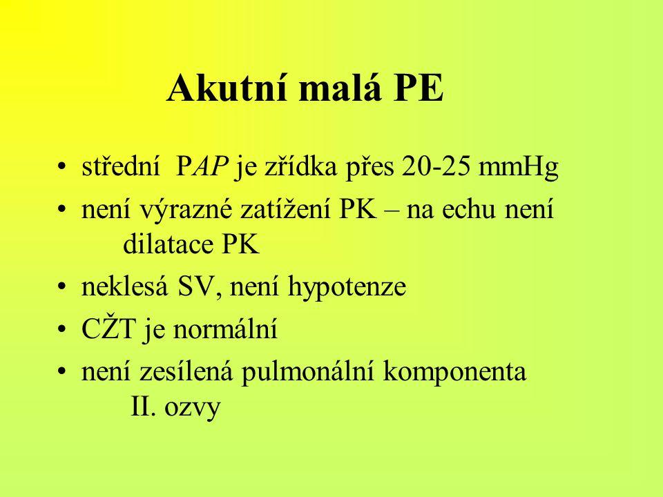 Akutní malá PE střední PAP je zřídka přes 20-25 mmHg