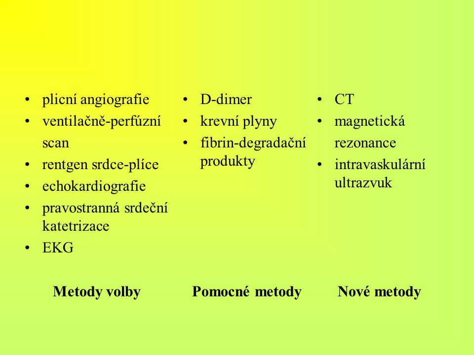 plicní angiografie ventilačně-perfúzní. scan. rentgen srdce-plíce. echokardiografie. pravostranná srdeční katetrizace.