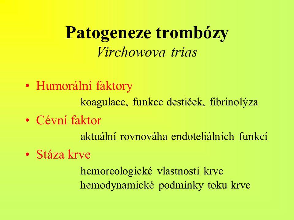 Patogeneze trombózy Virchowova trias