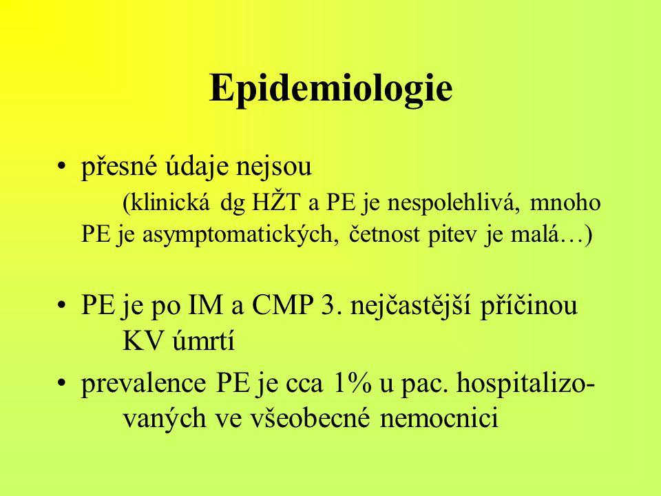 Epidemiologie přesné údaje nejsou (klinická dg HŽT a PE je nespolehlivá, mnoho PE je asymptomatických, četnost pitev je malá…)