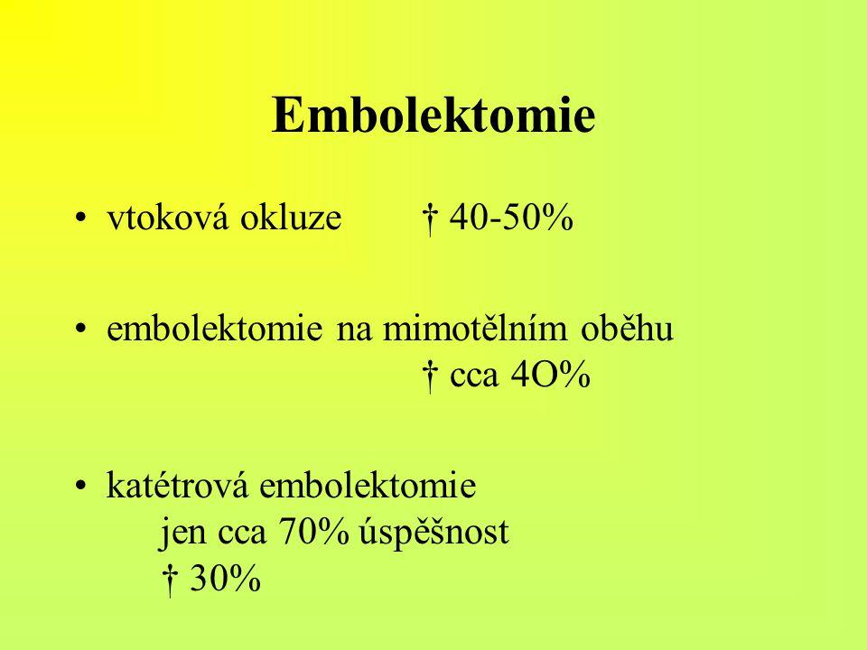 Embolektomie vtoková okluze † 40-50%