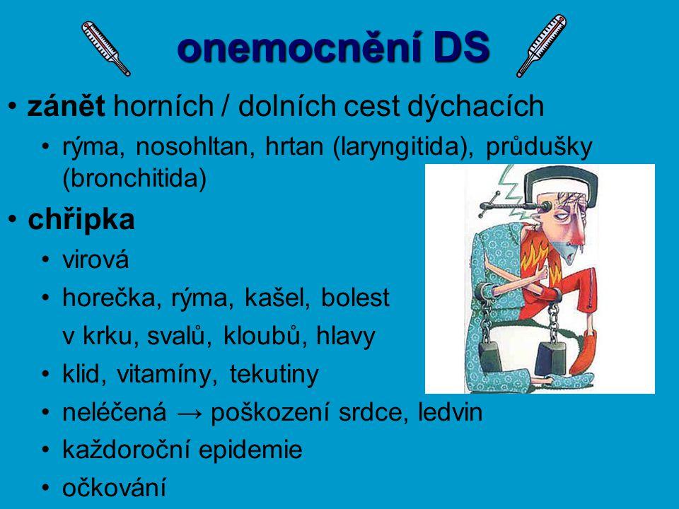 onemocnění DS zánět horních / dolních cest dýchacích chřipka