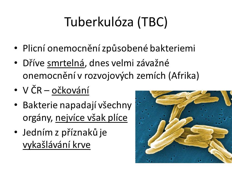 Tuberkulóza (TBC) Plicní onemocnění způsobené bakteriemi