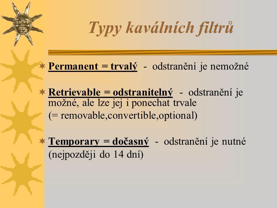 Typy kaválních filtrů Permanent = trvalý - odstranění je nemožné