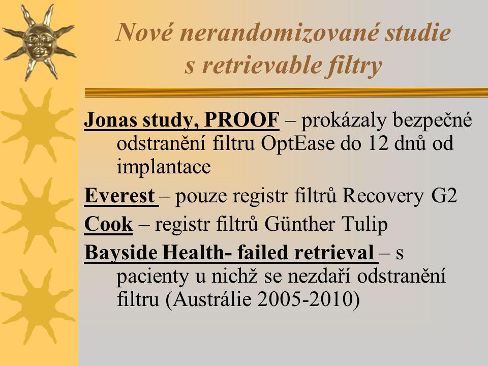 Nové nerandomizované studie s retrievable filtry