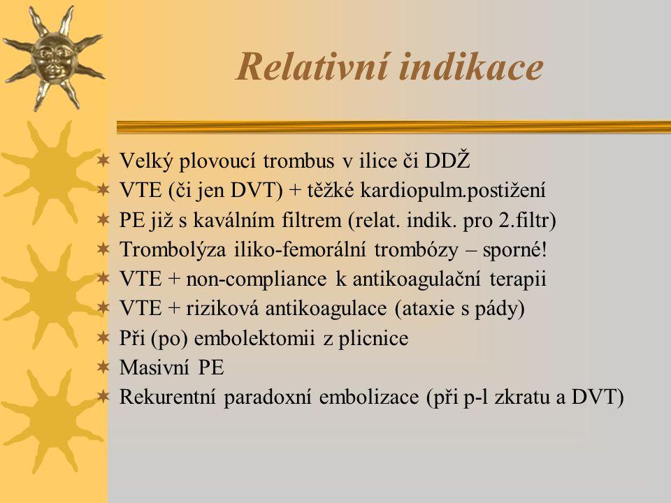Relativní indikace Velký plovoucí trombus v ilice či DDŽ