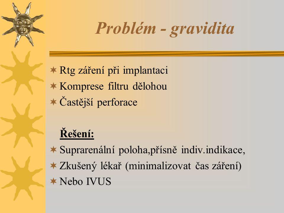 Problém - gravidita Rtg záření při implantaci Komprese filtru dělohou