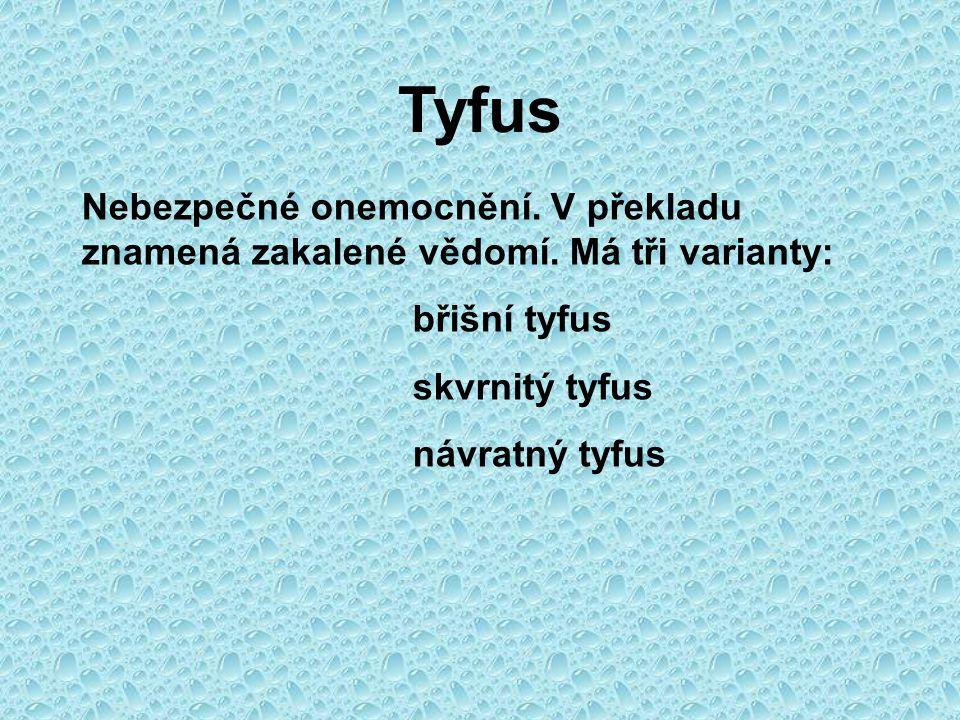 Tyfus Nebezpečné onemocnění. V překladu znamená zakalené vědomí. Má tři varianty: břišní tyfus. skvrnitý tyfus.