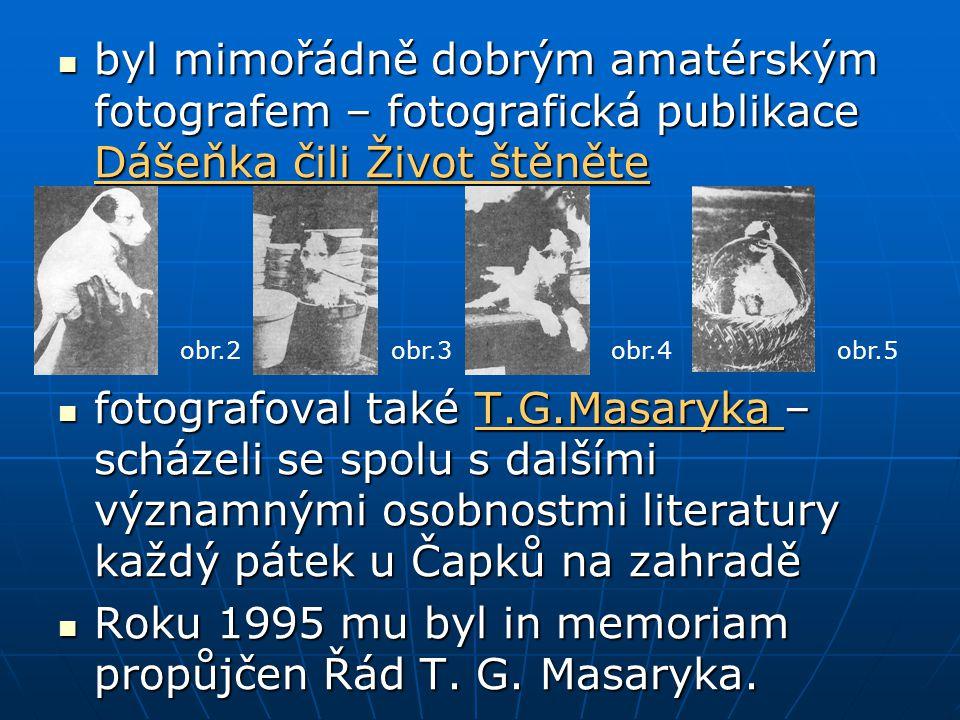 Roku 1995 mu byl in memoriam propůjčen Řád T. G. Masaryka.