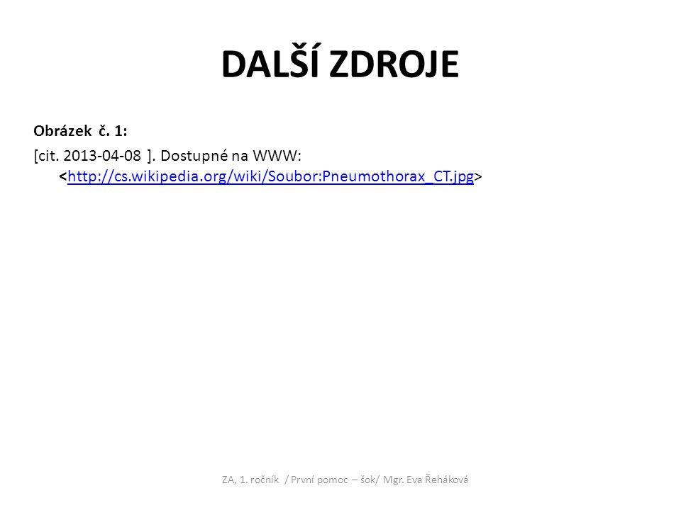 ZA, 1. ročník / První pomoc – šok/ Mgr. Eva Řeháková