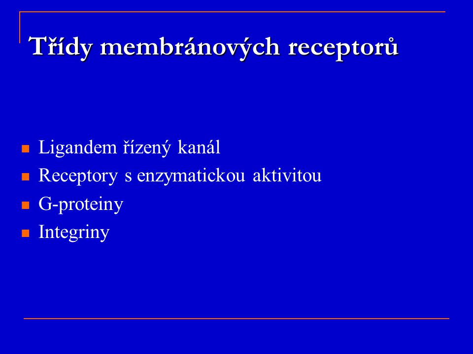 Třídy membránových receptorů