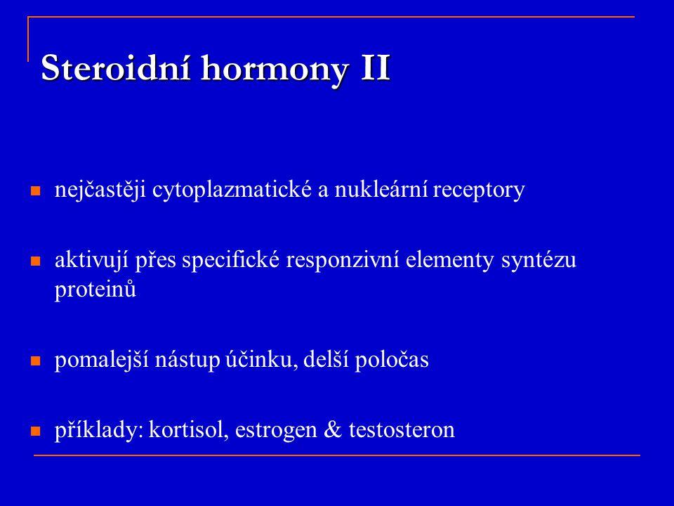 Steroidní hormony II nejčastěji cytoplazmatické a nukleární receptory