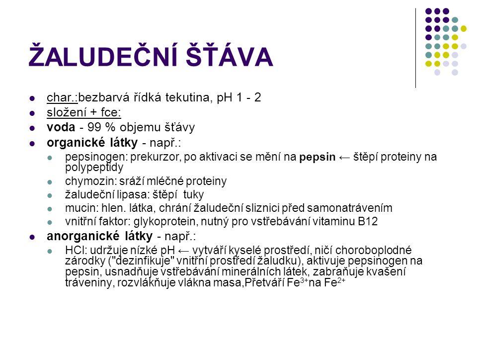 ŽALUDEČNÍ ŠŤÁVA char.:bezbarvá řídká tekutina, pH 1 - 2 složení + fce: