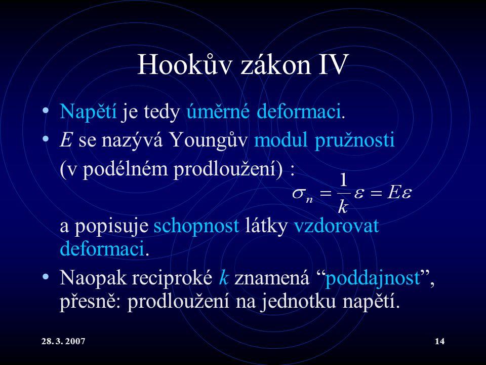 Hookův zákon IV Napětí je tedy úměrné deformaci.