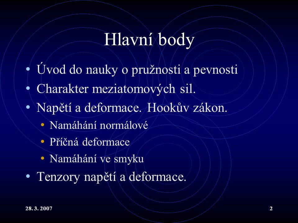 Hlavní body Úvod do nauky o pružnosti a pevnosti
