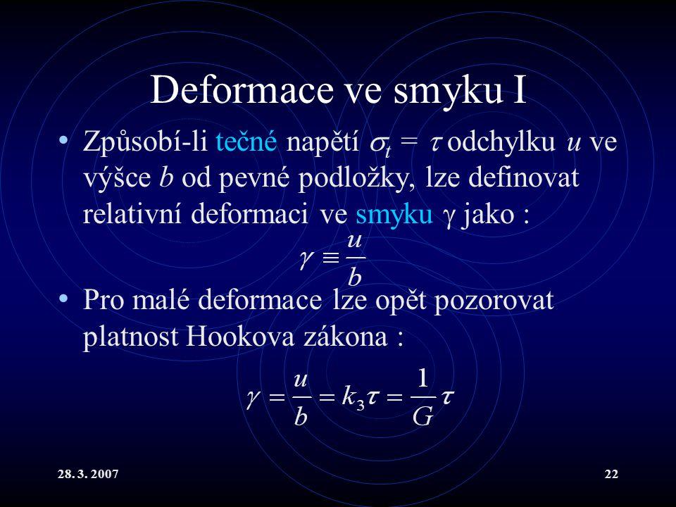 Deformace ve smyku I Způsobí-li tečné napětí t =  odchylku u ve výšce b od pevné podložky, lze definovat relativní deformaci ve smyku  jako :